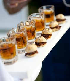 Beer Shooters with BBQ Pork Sliders