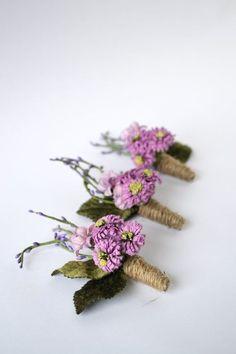 Purple floral boutonnieres www.MadamPaloozaEmporium.com www.facebook.com/MadamPalooza