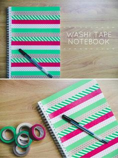 DIY office, notebook with washi tape