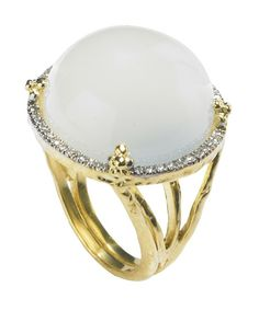 Cabachon White Moonstone Cocktail Ring with Diamonds