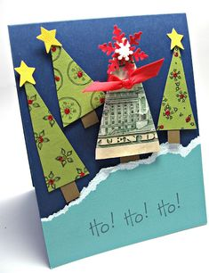 What a cute way to give money. Rather than stuffing money in the card, turn it into a Christmas tree.