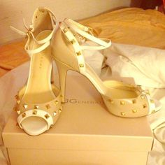 Spiked Ivanka Trump Beige and White Heels Sz 9.5 Worn once but in great condition. I accept reasonable offers. Ivanka Trump Shoes Heels