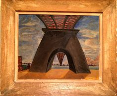 Art Brut Naive Surreal Phalic Oil Painting Bridge Cityscape Outsider Canvas sign #Surrealism
