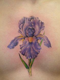 Purple Iris Tattoo | iris tattoo on the ol' sternum. ow. ow. ow.