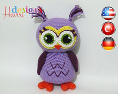 PATTERN - Purple Owl (Crochet, Amigurumi)