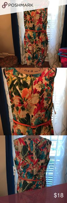 Evan Picone dress. Size 16. NWT Great little dress to wear anywhere. Beautiful floral print with orange belt to show off the waistline. Evan Picone Dresses