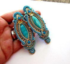 Turquoise Earrings Soutache Clips Handmade by IncrediblesTN, $39.00
