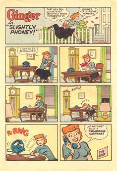 Funny single page strip from Ginger #10 (1954). One of my favorite vintage humor comics from the era, published by Archie Comics. It's too bad it only lasted 10 issues!