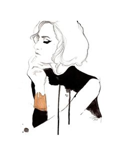 Print from original watercolor and pen fashion illustration by Jessica Durrant titled The Golden Cuff. $26,00, via Etsy.