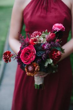 Wedding Bouquets Inspiration : Red bouquet: www. Red Bridesmaid Bouquets, Fall Wedding Bouquets, Fall Wedding Colors, Floral Wedding, Wedding Flowers, Red Bridesmaids, Wedding Dresses, Deep Red Wedding, Jewel Tone Wedding