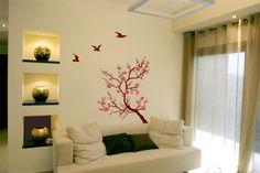 wall deco and spot light Deco Stickers, Decoration Stickers, Deco Zen, Salon Design, Ideas Para, Living Room, Interior Design, House, Furniture
