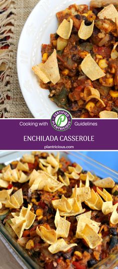 This hearty casserole is easier to make than enchiladas since you don't need to roll tortillas or make a separate sauce. Corn tortillas are added in with the beans and vegetables to thicken the casserole; a dish that everyone at the table will enjoy! Enchilada Casserole, Casserole Dishes, Vegan Gluten Free, Vegan Vegetarian, Corn Tortillas, Nutritious Meals, Plant Based Recipes, Enchiladas, Separate