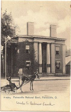 The beautiful Painesville National Bank at Painesville, Ohio in Lake County, now long gone.  |  It was one of the finest buildings by Western Reserve master-builder and architect, Jonathan Goldsmith.