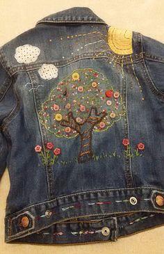 Baby Gap Denim Jean Jacket Embroidered Tree Sunshine Cute Sz. 5 Years #BabyGap #Jacket Kids Denim Jacket, Denim Ideas, Baby Gap, Cool Designs, Couture, Embroidery, Sewing, 5 Years, Womens Fashion