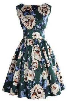 Retro Style Sleeveless Round Neck Floral Print Women's Dress