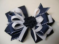 Large Nautical Navy Blue White Hair Bow Toddler to por HareBizBows