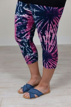 Purple/Navy Tie Dye Capri Printed Leggings (Sizes 12-18) - LEG106PU
