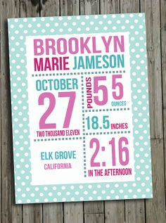 8x10 Digital Birth Stat Announcement Printable by PrintFrameHang for $5.00