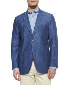 Striped Two-Button Sport Coat, Navy, Size: XXX-LARGE - Peter Millar