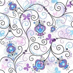 Illustration of Gentle seamless spring pattern with vivid flowers and transparent butterflies (vector EPS vector art, clipart and stock vectors. Flower Graphic Design, Bullet Journal Ideas Pages, Paisley Pattern, Paper Gifts, Vector Art, Iphone Wallpaper, Pattern Design, Mosaic, Clip Art
