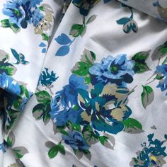 Bouquets in blue. Unique and trendy pure Indian cotton fabric by the yard.