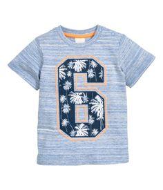 T-shirt with Printed Design   Blue melange   Kids   H&M US