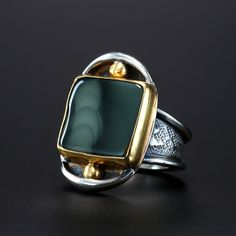 Morrison Ranch Jasper Christine Marie Claim Ring. Fabricated Sterling Silver and 22k Gold by Amy Buettner