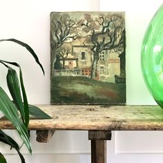 This wonderful French painting, captures a French Village scene; you can almost imagine the artist set up in the square plein air, quickly sketching in paint, the scene before him. French Paintings, European Paintings, Vintage Art, Scene, Rustic, Landscape, Artist, Country Primitive, Scenery