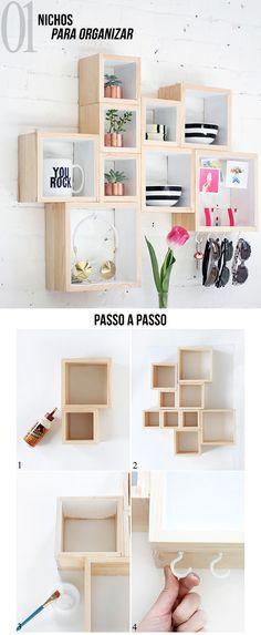 4 DIYs para repaginar a decoração do seu quarto! | Dicas de Decoração: Nichos para Organizar. #decoração #decor #inspiração #diy #quarto #ideias #criatividade #dicas #blog #lnl #looknowlook