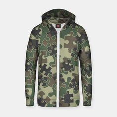 Jigsaw Puzzle Pieces Camo WOODLAND GREEN Zip up hoodie, Live Heroes