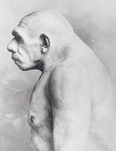 did not walk around with stooped posture. The mistake, shown in this early reconstruction concept, was made because this carefully buried (high status) individual was elderly and arthritic. Interesting History, Interesting Faces, Prehistoric Man, Human Oddities, Early Humans, Human Evolution, Stone Age, Ancient History, Archaeology