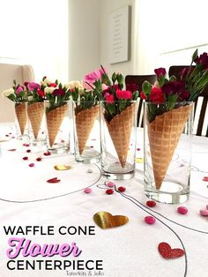 Waffle Cone Centerpieces you can make in 5 minutes are perfect for any type of party including Galantines! Waffle Cone Centerpieces you can make in 5 minutes are perfect for any type of party, birthday, anniversary, work including Galantines! Party Centerpieces, Flower Centerpieces, Flower Arrangements, Quinceanera Centerpieces, Ice Cream Theme, Ice Cream Party, Birthday Crafts, Birthday Parties, Glace Diy