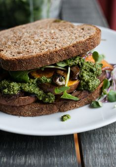 "ROASTED SWEET POTATO & MUSHROOM SANDWICH with COLLARD GREENS & PECAN PESTO ~~~ the recipe for the pesto is shared with us from the book, ""the southerner's cookbook: recipes, wisdom, and stories"" [USA, Regional South, Modern] [gardenandgun] [jessicamurnane]"
