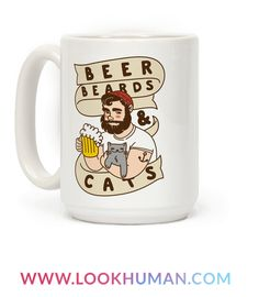 Celebrate your love for bushy and fluffy beards and cats as well as an ice cold brew with this illustrative design! This cute mug is perfect for any beer, beard or cat lover. These 3 things are sure to bring joy to your life. A nice full, furry beard, a fluffy and cuddly cat, and a rich and full bodied beer. They all seem to be as equally awesome and even more awesome together!