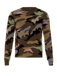 VALENTINO Contrast Camouflage-Print Cashmere Sweater. #valentino #cloth #sweater