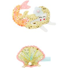 Monsoon 2x Under The Sea Hair Clips ($3.50) ❤ liked on Polyvore featuring accessories, hair accessories, sparkly hair clips, hair clip accessories and barrette hair clip