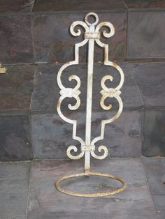 Wrought Iron Cast Iron White Plant Holder by TheVintageScavenger, $30.00