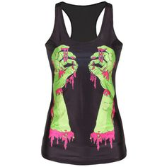 Black Ladies Horror Bloody Hands Printed Tank Top ($9.99) ❤ liked on Polyvore featuring tops and black