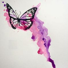 28 Ideas Tattoo Butterfly Watercolor Water Colors For 2019 Watercolor Butterfly Tattoo, Monarch Butterfly Tattoo, Butterfly Drawing, Butterfly Tattoo Designs, Butterfly Painting, Watercolor Water, Easy Watercolor, Watercolor Drawing, Watercolor Paintings