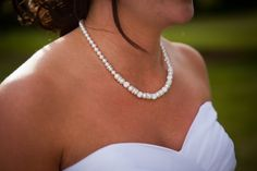 Shayla wearing a Swarovski pearl and rhinestone necklace I made for her wedding day.