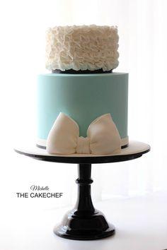 Teal & White Cake