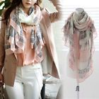 Top Selling Pink Grey Girls Long Print Soft Scarf Magic Shawl Large Voile Wrap