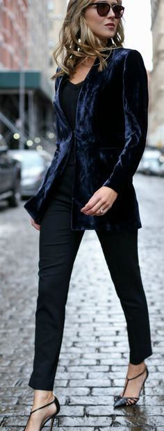 navy blue velvet blazer with black trim, black embellished silk camisole, wool ankle length tapered pants, ankle strap pumps, gold choker and layered necklaces | {work style, work wear, sjp collection, classic fashion}