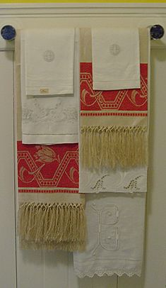 Layered antique towels