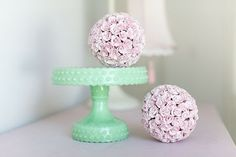 Vintage green and tea rose pink - love the colours together.