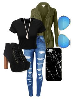 """Untitled #435"" by kelsey-anne-davis on Polyvore featuring LE3NO, Ray-Ban, WithChic, Jeffrey Campbell, Recover and Full Tilt"