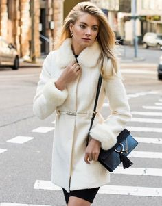 Forever New Belted Faux Fur Collar Coat