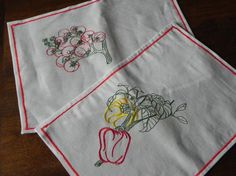 machine embroidered vegetables