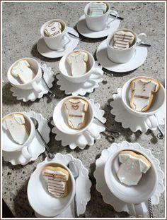 Cute teacup and baby cookies