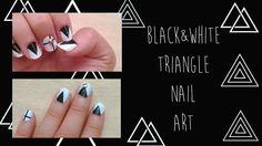 【セルフネイル】B&Wモードかっこいい▲三角トライアングル▲ Black&white Triangle Nail art